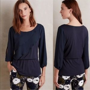 Anthropologie Deletta Alee ruffle peplum blouse S
